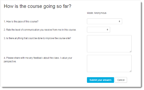 Questionnaire activity page