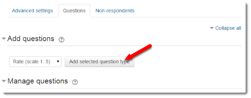 Add selected question type button is selected.