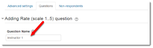 Question name field is selected.