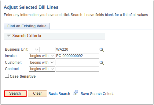 Adjust Selected Bill Lines Search Page