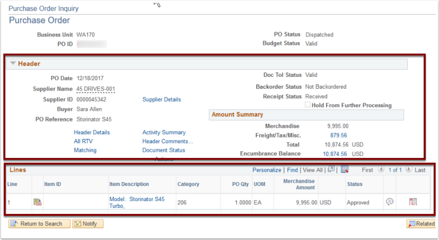 Purchase Order Inquiry page