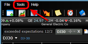 5. If you want to disable the pointer across all charts, click on tools.