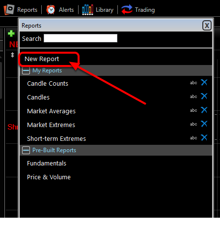 2. Click Blank Report.