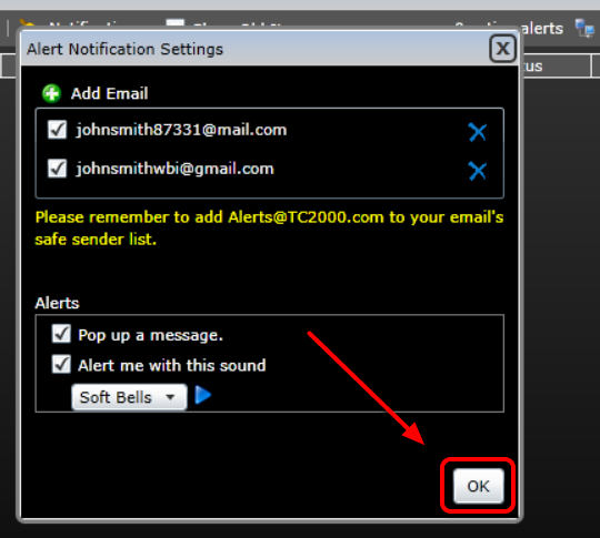 7. Select Ok to save and close the Alert Console.