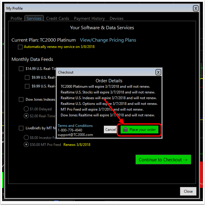 How To Cancel A Tc2000 Subscription Software Help Tc2000 Help Site