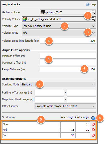 Define settings for angle stacks