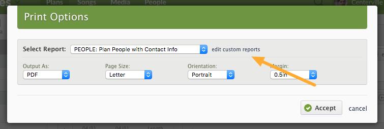 edit custom reports