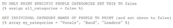 Set Categories to Print