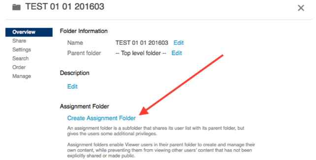 Image pointing out create assignment folder option in folder settings
