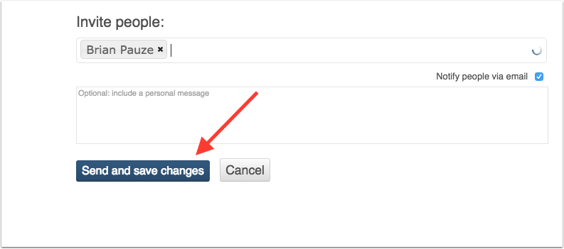 image pointing out send and save changes button in share settings