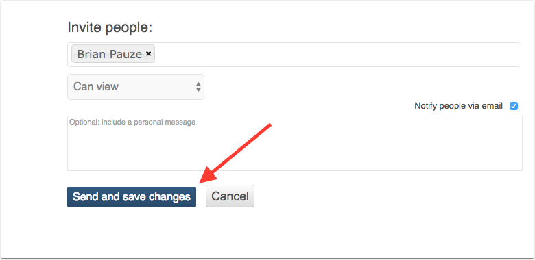 image showing share options with send and save changes button highlighted