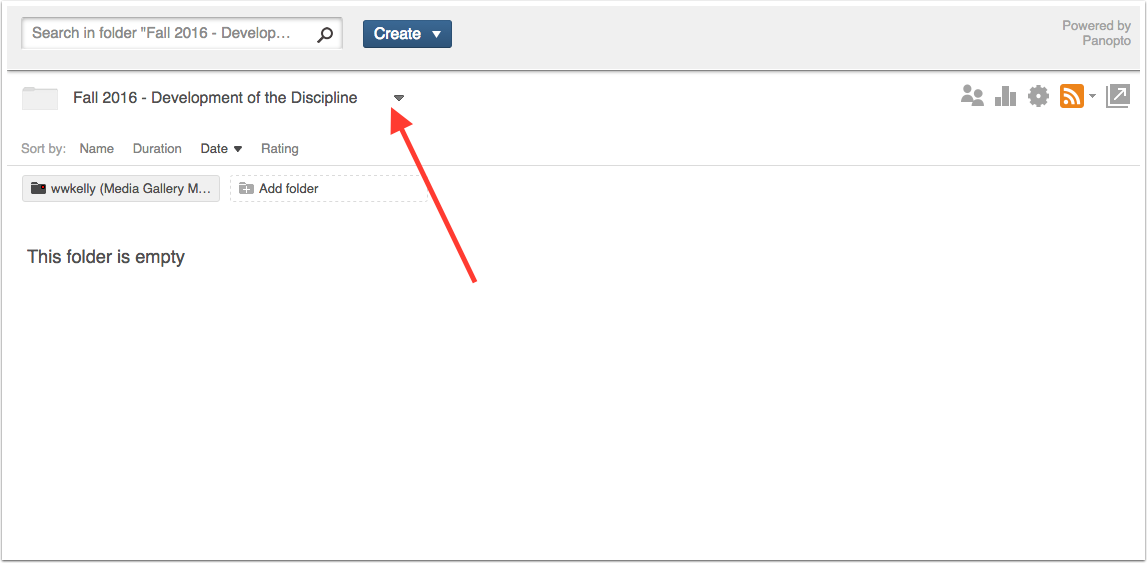image highlighting the folder drop down in the media library