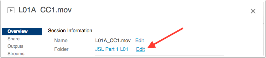 image highlighting the edit button next to the folder information in settings