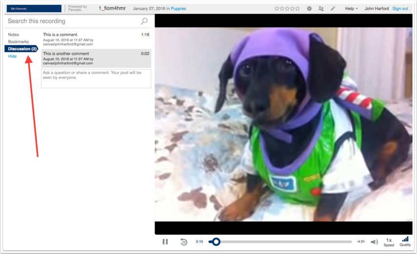 image highlighted the discussion section within the video player with comments added