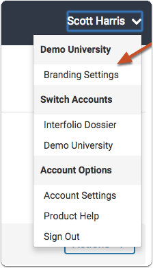 Click the settings icon on your Interfolio Account Dashboard