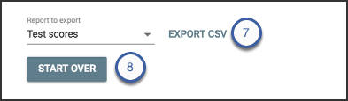 highlights of the export CSV button or the start over button