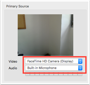 image showing video and audio primary source select drop down fields