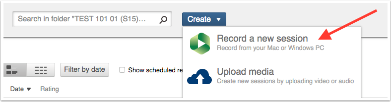 Image showing create button expanded with record a new session highlighted