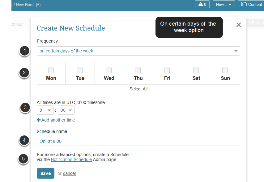 'Create new schedule'  pop-up appears