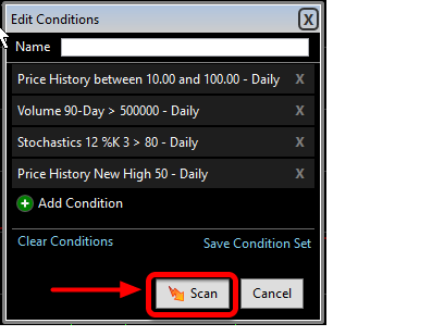 8.  Now that all three conditions have been added and the list to Scan has been selected click OK.