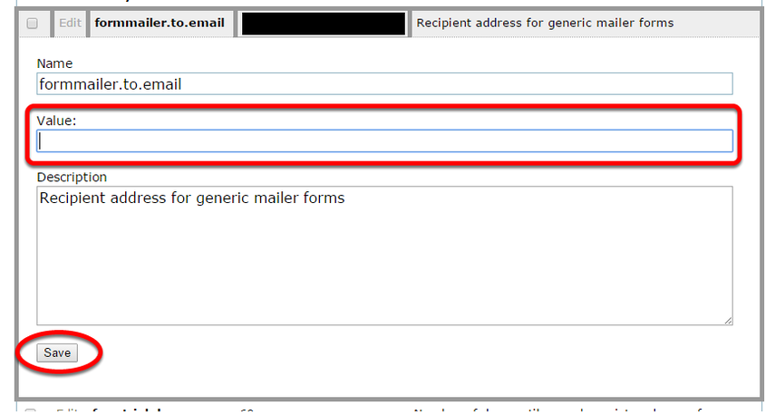 Edit the email address in the Value field. Click Save.