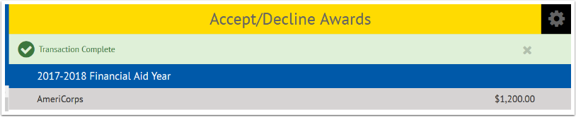 Accept/Decline Awards Transaction complete showing a green checkmark