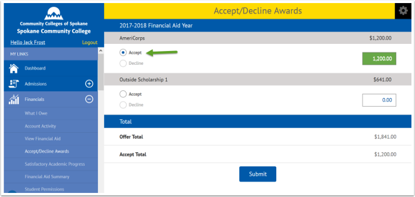 accept or decline awards page
