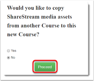 Proceed button is selected.