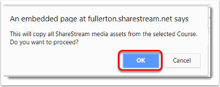 OK button is selected.