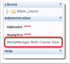 MediaManager Multi-Course View link is selected.