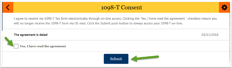 View 1098-T Consent - Yes checkbox and Submit button highlighted