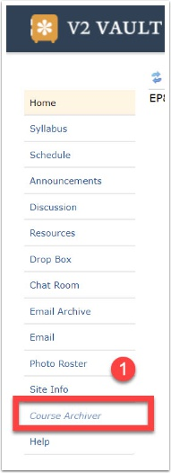 course archiver in the course menu