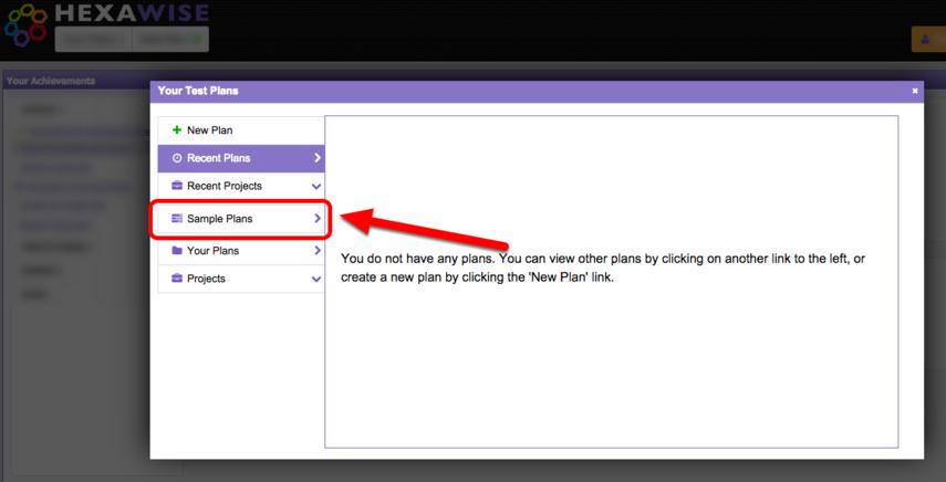 "Next, select ""Sample Plans"""