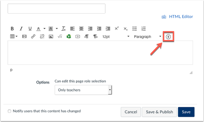 Arrow pointing to accessibility checker icon in the rich content editor.