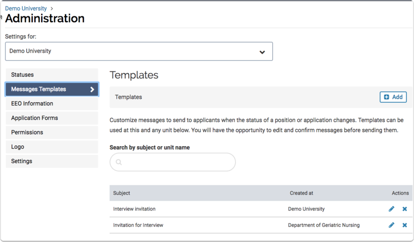 Set automated applicant notifications and internal communication settings