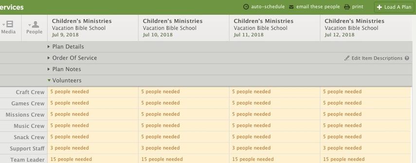 schedule positions