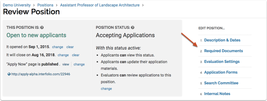 """Clicking the """"Required Documents"""" link on the Edit Positon screen takes you back to the screen above where you can edit document requirements. For more information, see the help article that covers how to edit an existing position."""