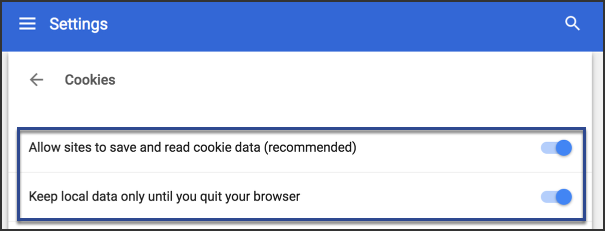 image of Chrome browser settings is shown with the following options enabled: allow sites to save and read cookie data, and keep local data only until you quit your browser.