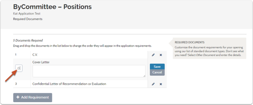 3. Type in the number 0 so that technically, 0 documents will be required for the applicant