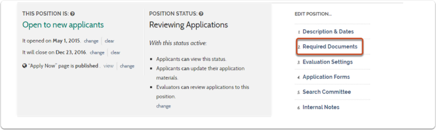 "1. On your position's review page, select ""Required Documents"""