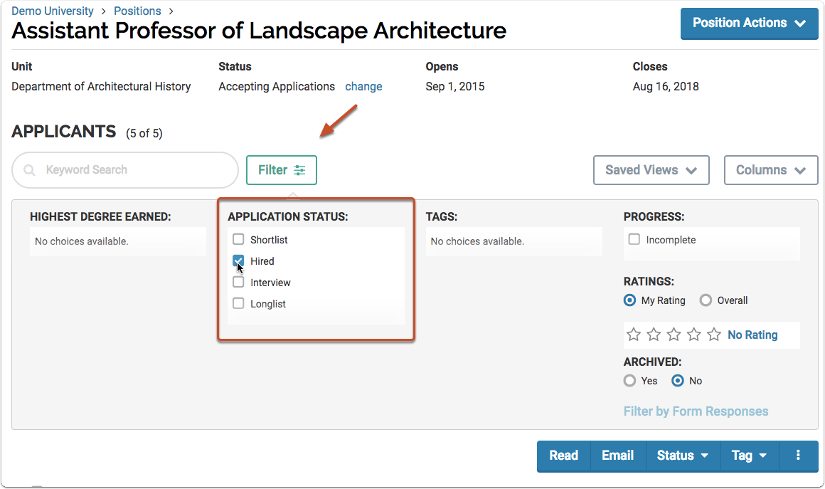 """Click """"Filter"""" at the top of the list of applications and select a label from the list"""