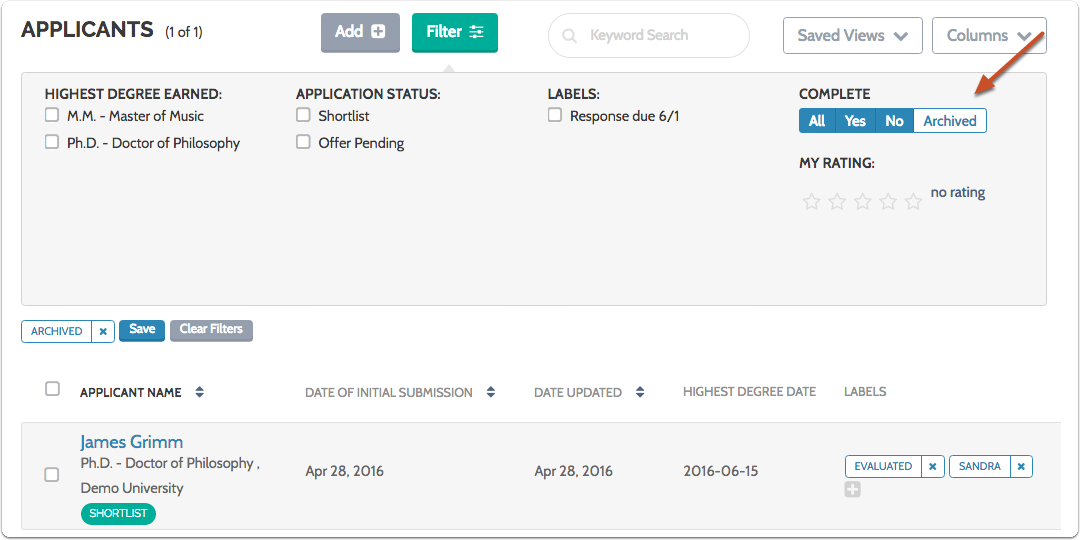 "The ""Archived"" button will turn white, and the list of applicants will display only archived applications"