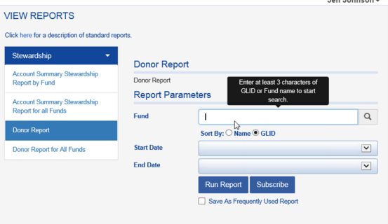 Under REPORTS > STEWARDSHIP there is also a DONOR REPORT available that provides overall fund information, including the fund purpose, but does not list individual recipients.