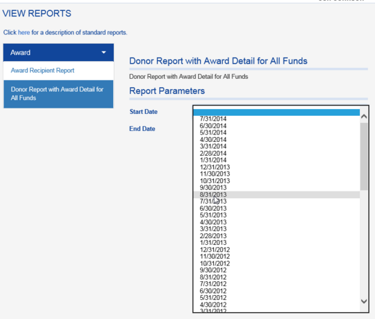 The DONOR REPORT WITH AWARD DETAIL FOR ALL FUNDS is also run using date parameters.