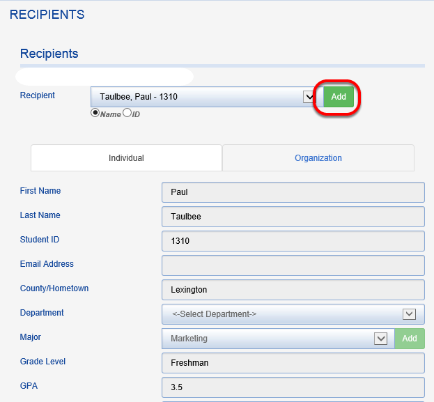 By clicking on the RECIPIENTS TAB, you can add new award recipient detail or review existing recipient records. Choose a recipient from the drop down menu or click ADD.