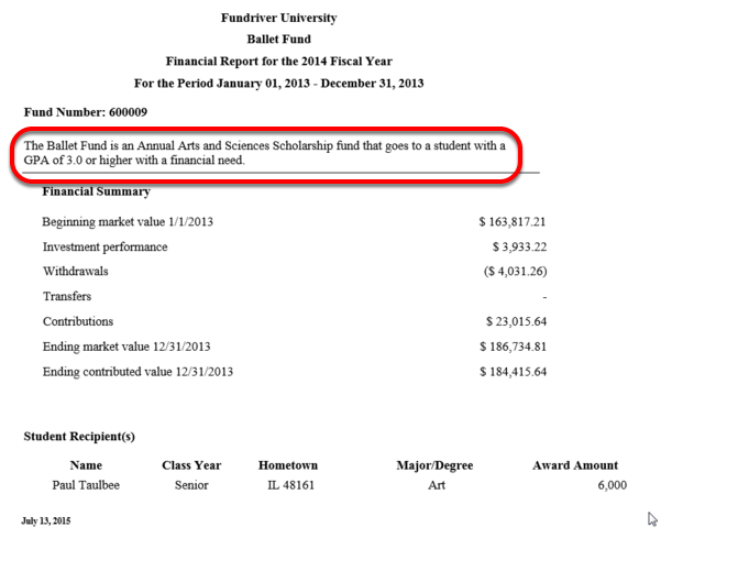 If a fund use restriction is stored within Fundriver, it will display on the top of the report.