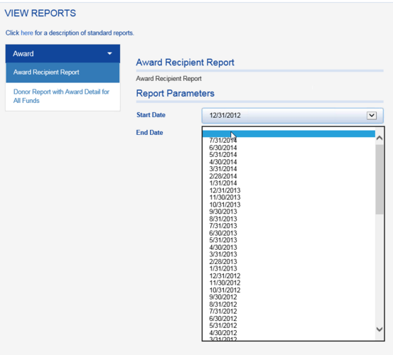 The AWARD RECIPIENT REPORT shows all recipients within a given time frame for all funds.