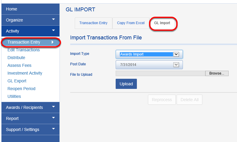 The award recipient import can be loaded into Fundriver by navigating to ACTIVITY > TRANSACTION ENTRY > GL IMPORT and choosing the Import Type of AWARDS IMPORT.
