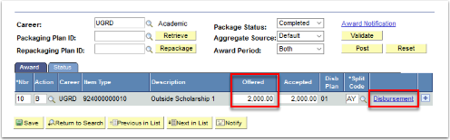 Student Aid Package tab Offered and disbursement areas highlighted