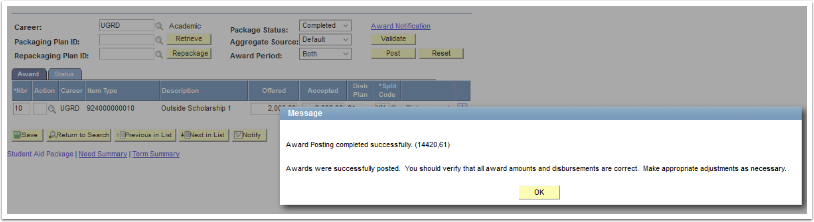 Award Posting completed successfully message